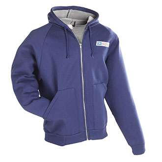 Zip Front Hooded Postal Sweatshirt for Mail Handlers and Mai
